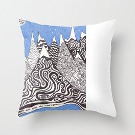 AUX PIEDS DES MONTAGNES Throw Pillow