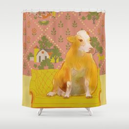 Farm Animals in Chairs #1 Cow Shower Curtain