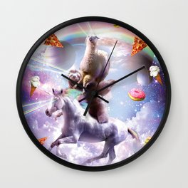 Laser Eyes Space Llama On Sloth Unicorn - Rainbow Wall Clock