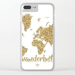 world map gold wanderlust Clear iPhone Case