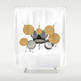 Black Drum Kit Shower Curtain