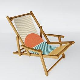 Sun Beach Stripes - Mid Century Modern Abstract Sling Chair
