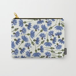Vintage Pressed Flowers - Blue Cornflower Carry-All Pouch