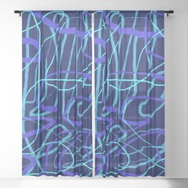 Blue Wiggle Linear Line Abstract Sheer Curtain