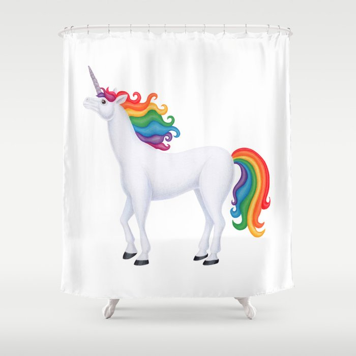 Whimsy Rainbow Unicorn Shower Curtain