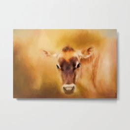Jersey Cow Farm Art Metal Print