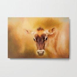 Jersey Cow Farm Art Metal Print
