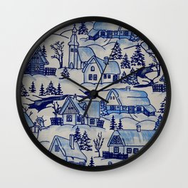 Vintage Blue Christmas Holiday Village Wall Clock