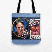 dwight schrute Tote Bags featuring Dwight Schrute  |  Beet Cola Advertisement by Silvio Ledbetter