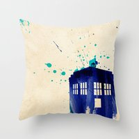 doctor Throw Pillows featuring Doctor Who TARDIS Rustic by Art by Colin