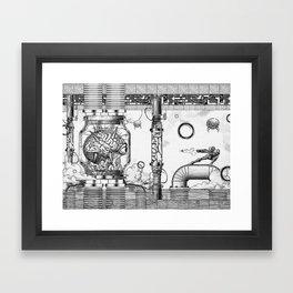 Mother Brain Super Metroid Engraving Scene Framed Art Print