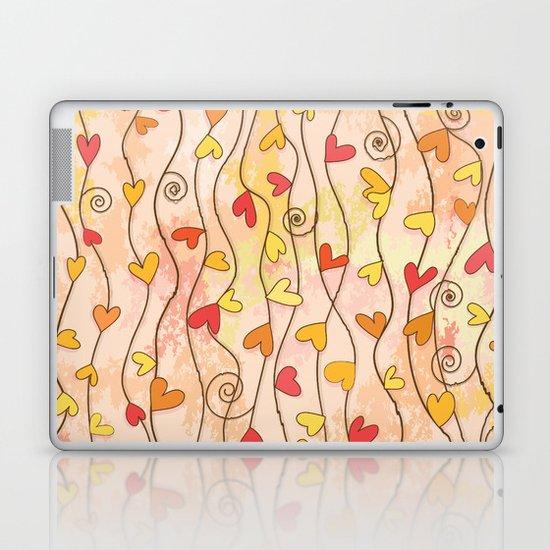 Heart and Spiral Botanic Pattern III - Fall Love Laptop & iPad Skin