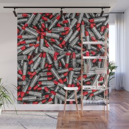 Lipstick chrome / 3D render of red chrome lipsticks Wall Mural