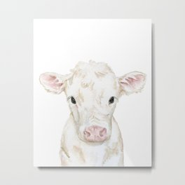 Baby White Cow Calf Watercolor Farm Animal Metal Print