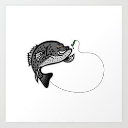 Crappie Jumping For A Bait Mascot Art Print