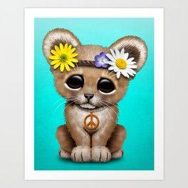 Cute Baby Lion Cub Hippie Art Print