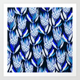 Blue protea pattern Art Print