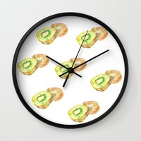 kiwi Wall Clocks featuring Kiwi by Imanol Buisan