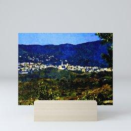 Calabria landscape with Catanzaro city and Sila mountain Mini Art Print