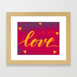 Valentine's Day Watercolor Love – magenta and yellow Framed Art Print