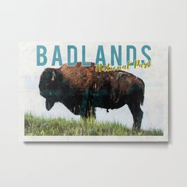 Badlands National Park Vintage Postcard Metal Print