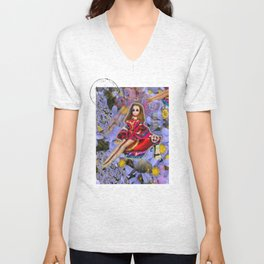 JOuRNeY into WONDERLAND, get WOWED by tHE wHImSiCal PEaCOck! Unisex V-Neck
