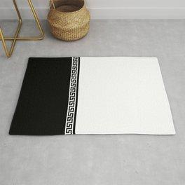 Greek Key 2 - White and Black Rug