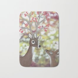 white tailed deer, tufted titmice, & cherry blossoms Bath Mat