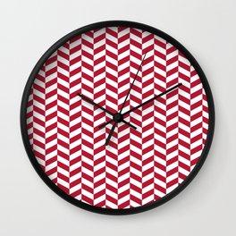 Crimson Red Herringbone Pattern Design Wall Clock