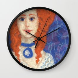 Red Hair, ginger lady, rococo haircut, felt painting, fiber art Wall Clock