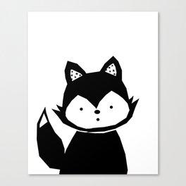 Baby Fox - black Poster Canvas Print