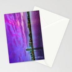 Sun dusk over Boston Stationery Cards