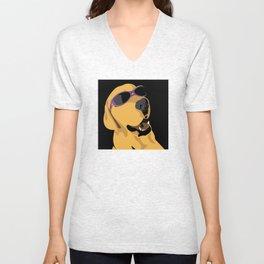 Sunglass dog purple Unisex V-Neck