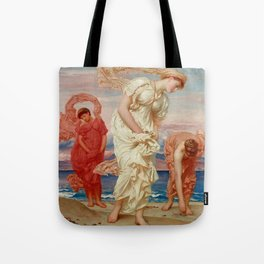 "Frederic Leighton ""Greek Girls Picking up Pebbles by the Sea"" Tote Bag"