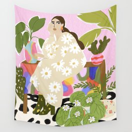Hanging out with plants Wall Tapestry