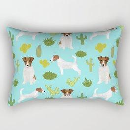 Jack Russell Terrier cactus desert custom pet portrait dog art by pet friendly Rectangular Pillow