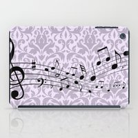 music notes iPad Cases featuring Damask Music Notes by Jessica Wray