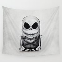 jack skellington Wall Tapestries featuring Mini Jack Skellington by bimorecreative