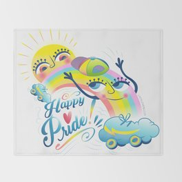 Happy Pride LGBTI Throw Blanket