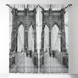 Brooklyn Bridge, New York City (rustic black & white) Blackout Curtain