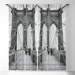 Brooklyn Bridge, New York City (rustic black & white) Blackout Curtain