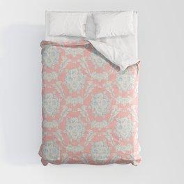 Shabby elegant coral ivory pastel blue floral damask Comforters