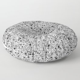Black and White Floral Floor Pillow