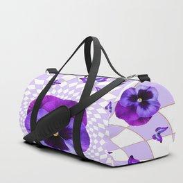 PURPLE BUTTERFLIES & PANSIES GEOMETRIC WHITE PATTERN Duffle Bag