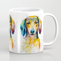 dachshund Mugs featuring Dachshund  by Slaveika Aladjova