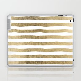 White faux gold elegant modern striped pattern Laptop & iPad Skin