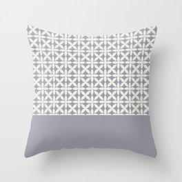 Pantone Cannoli Cream Square Petal Pattern on Pantone Lilac Gray Throw Pillow