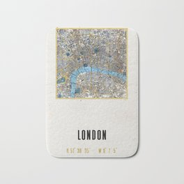 Vintage London Gold Foil Location Coordinates with map Bath Mat