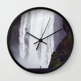 Man Vs. Nature - Skógafoss, Iceland Wall Clock