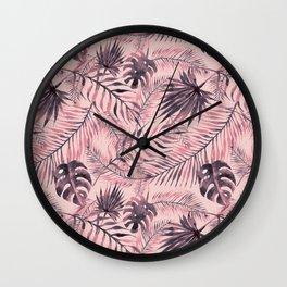 Jungle leaves pattern - Pink Wall Clock